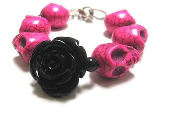 Sugar Skull Bracelet Day Of The Dead Jewelry Black Rose Hot Pink Strand