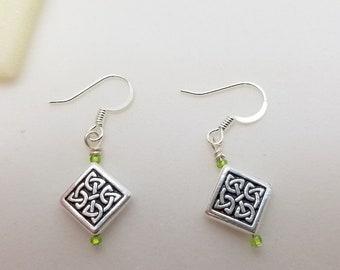 Diamond Shape with Celtic Knot Earrings, Dangle Earrings
