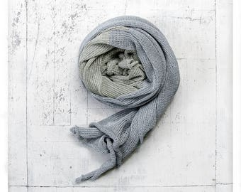 Grey bright blue linen scarf. Linen shawl. Linen wrap. Natural scarf. Summer scarf. Scarves. Gift for her. Linen scarf. Scarf. Linen.