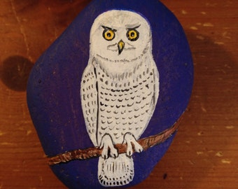 Painted Rock Mystical WHITE OWL PAPERWEIGHT