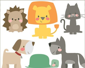Boxy Animals Clipart -Personal and Limited Commercial Use- Cute and Simple Print and Cut Animal Clip Art