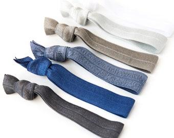 Blue Ombre Hair Tie Set | Creaseless Elastic Hair Ties, Blue Gray Ombre Hair Tie Set, Silver, Grey, Navy, Denim, Charcoal Bridesmaid Gift