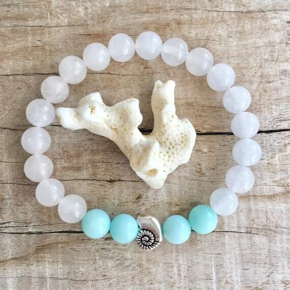 beach jewelry, shell bracelet, bohemian jewelry, gift for her, mermaid bracelet, jade bracelet, beachcomber jewelry