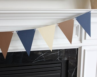 6 Foot - Paper Bunting Flag Mantel Garland in Navy Blue, Tan and Brown - Party Shower Banner
