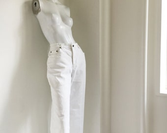 White Denim Jeans 90s Vintage High Waisted Jeans Large Cropped Flared Distressed Jeans Frayed Hems Wide Leg High Waist White Jeans 10 Jeans
