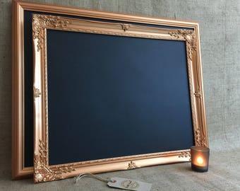 COPPER FRAMED CHALKBOARD, Copper Ornate Framed Chalkboard, Copper Framed Message Board, Rose Gold Copper Memo Board | Copper Wedding Decor