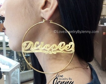 14k Gold Overlay 4 inch BIG Super Size round hoop earrings- PERSONALIZED Any Name Earrings- by LoveJewelryByJenny