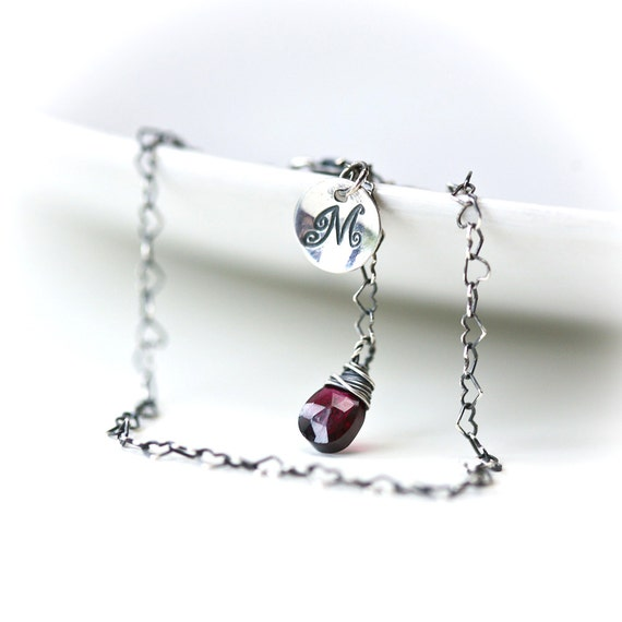 Surrounded by Hearts - Custom Initial Sterling SIlver Charm Bracelet