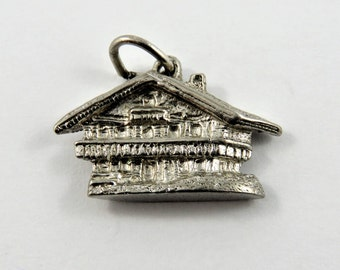 3D Two Story Cabin or Lodge Sterling Silver Pendant or Charm.
