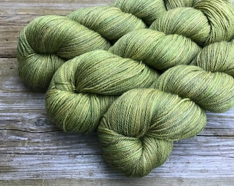 Hand Dyed Superwash Merino Bamboo Nylon 70/20/10 sock yarn 115 gm 460 yds: SPROUT absinthe green olive khaki tan rust new growth spring