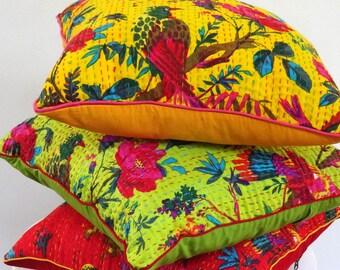 Yellow, square, cotton printed gaudri birds of paradise decorative pillows