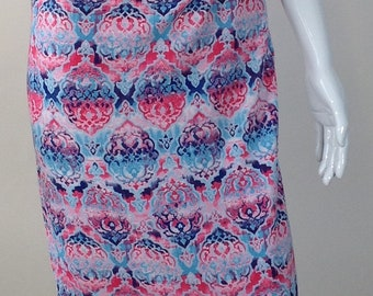 Pink and blue print pencil skirt