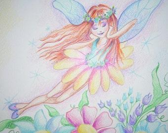 Fairy Dreaming  Art Print for Children  8.5 x 11
