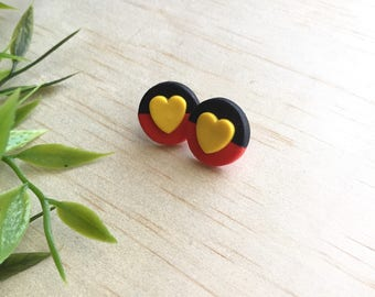 Mini NAIDOC Studs - Aboriginal indigenous flag, Australia, cultural, black red yellow, donation foundation
