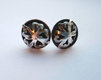Sterling silver handmade flower earrings, hallmarked in Edinburgh
