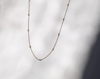 Diamond by yard Necklace,Diamond Necklace, Gold Necklace, Diamond Necklace in 14k gold