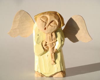 ANGEL playing violin- handcrafted wooden sculpture