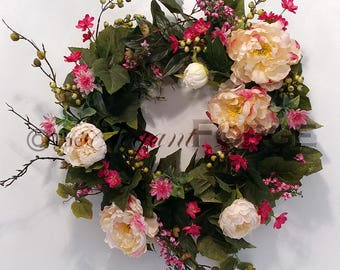 Pink and Cream Peony Spring Wreath