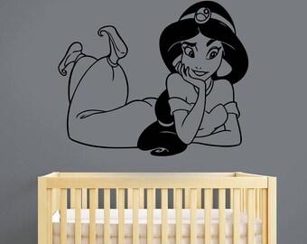 Aladdin Disney Wall Decal Princess Jasmine Vinyl Sticker Cartoon Art Fantasy Film Fairy Tale Decorations for Home Kids Girl Room Decor alad8