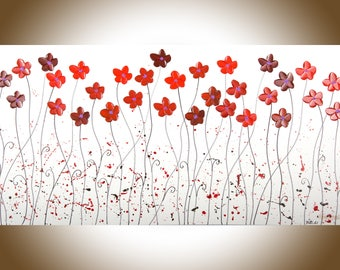 """Red White Black painting 48"""" large wall art wall decor palette knife painting on Canvas wall hangings """"Happy Faces"""" by QIQIGallery"""