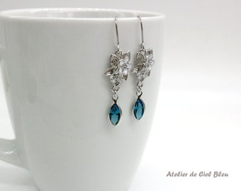 Flower Earrings, Forget Me Not Earrings with Swarovski Crystal, Silver Plated Flower Earrings, White Flower, Blue, Indicolite Crystal