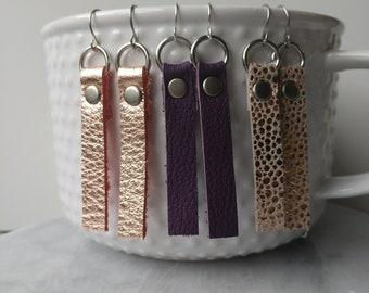 Leather Earrings, Dangle Leather Earrings with Stud, Leather Strip  Earrings