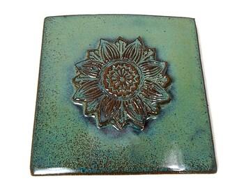 Ceramic Tile, Decorative Flower Tile, Sunflower Decor, Ceramic Wall Tile, Kitchen Tile, Clay Flower Tile, Sunflower Kitchen, Handmade Tile