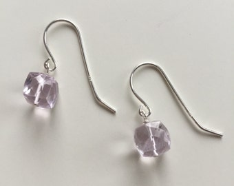 Pink Amethyst Earrings, Pink Amethyst Jewelry, Gemstone Earrings, Natural Amethyst Simple Earrings, Sterling Silver, Gold Fill