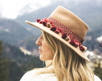 Cowboy hat band bohemian style with pompons and beads