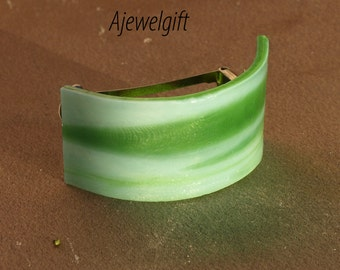 Spring Green Fused Glass Pony Tail Barrette 15P020