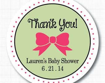 Personalized Bow Baby Shower Thank You Stickers or Tags