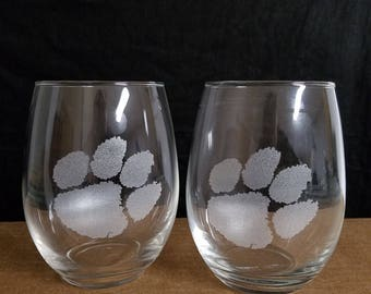 2 nice etched  large stemless wine glasses, Clemson Tigers
