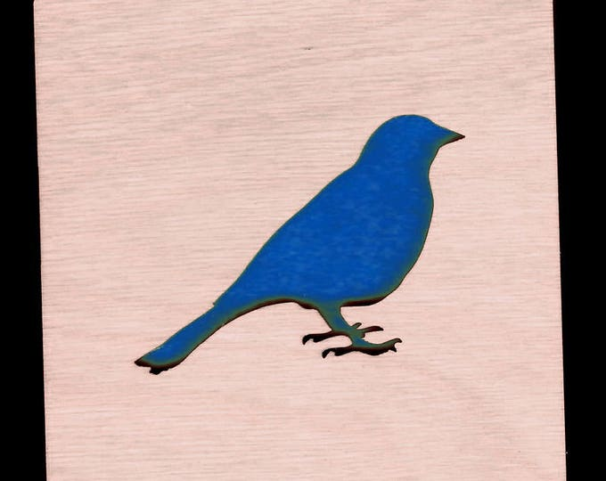 4 Bird Coasters wooden laser cut natural eco-friendly Waterproof plywood birch and Felt