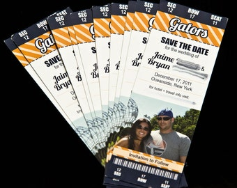 Orange and Blue Gator Football Ticket Save the Dates - PDF - Digital File