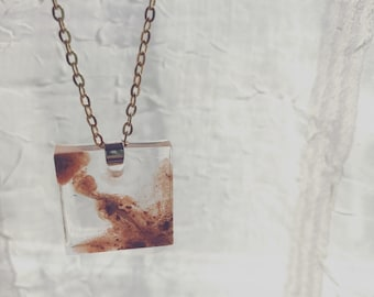 Gold cast square pendant