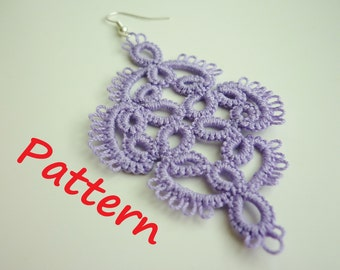 simple PATTERN - needle tatting written pattern - earrings - frivolite - occhi - tatted tutorial - lace jewelry beginner - purple jewellery