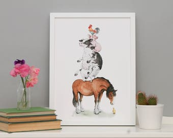 The Farmyard //A3 Poster Print// Duckling, Horse, Cow, Pig, Cockerel // Farm animals // Illustration, watercolour, art for the home