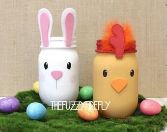 Easter Bunny or Chick Mason Jar Centerpiece,Easter Mason Jar,Bunny Rabbit Jar,Cute Easter Chick Jar,Bunny Baby Shower Centerpiece