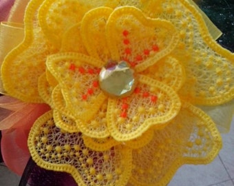 FSL Flower, Free Standing Lace Flower Embroidery Design, In the Hoop Flower, Large Embroidery Flower, 3D Embroidery , Summer Flower