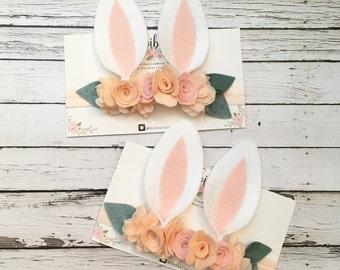 Somebunny is one, Bunny Ears Headband, Bunny Costume, Bunny Headband , Baby Bunny Ears , Rabbit Headband, Peach Floral Crown