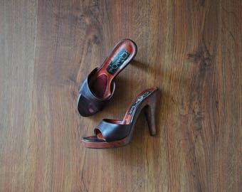 70s wood platform mules / 1970s high heel sandals / burgundy leather clogs 7