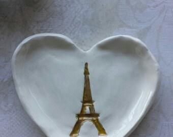 Eiffel Tower Trinket Dish Gold Small Ring Dish Wedding favor Tea bag holder Ready To Ship