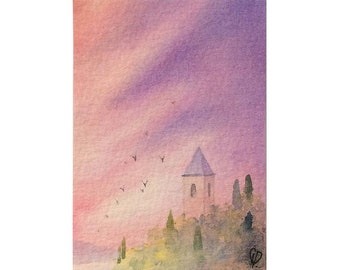 Original ACEO watercolor painting - It's time to go home
