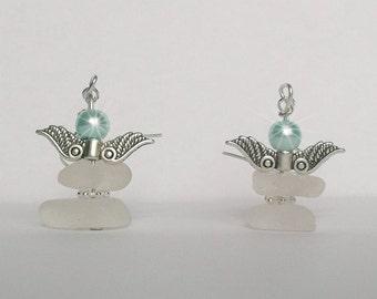 Sea glass Christmas angel earrings - Beach glass angel earrings Sea glass earrings - Christmas jewelry