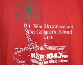 Vintage 80's Screen Stars KZZP 1047 fm Number 1 Hit Music Radio Station Gilligans Islands Graphic T Shirt XL Usa
