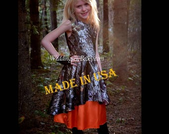 "Camo Flowergirl dress with heart back cut out ""Angie'"