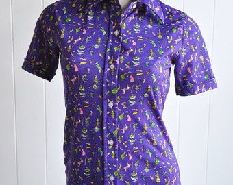 1960s Clown/Jester/Circus/Vintage Toy/Poodle Novelty Print Short-Sleeved Button-up Top with Collar Mold