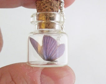Tiny Purple Butterfly Bottle Necklace