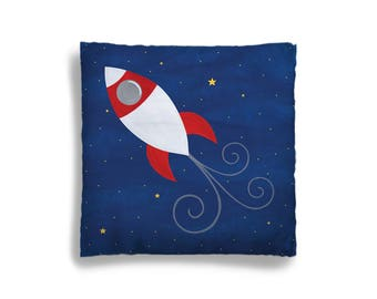 Pillow Cover - Decorative Children's Throw Pillow from Hand Painted Images - Rocket Ship in Outer Space 16x16 18x18 20x20 or 24x24