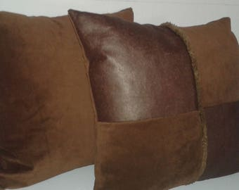 leather and velvet cushion / male-female
